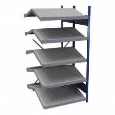 B-to-back open shelving, sloped shelves (add-on unit for series)