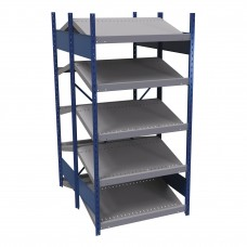 B-to-back open shelving, sloped shelves (standalone/series possible)