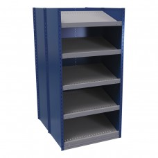 B-to-back closed shelving, sloped shelves (standalone/series possible)