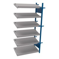 Open shelving with 6 sloped shelves (FIFO) (Middle side-by-side unit)