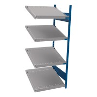 Open shelving with 4 sloped shelves (FIFO) (End side-by-side unit)