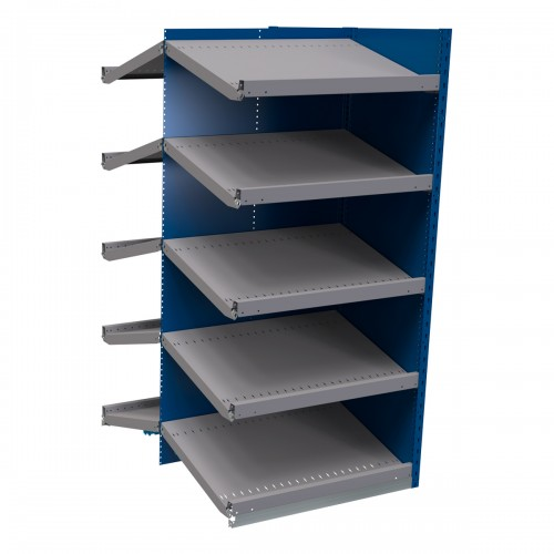 B-to-back closed shelving, sloped shelves (add-on unit for series)