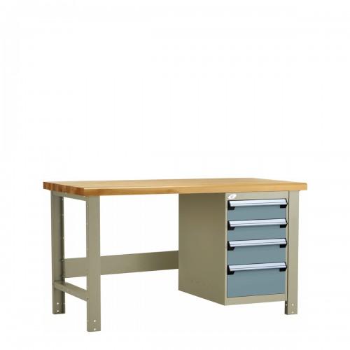 Table de travail avec dessus de bois lamellé
