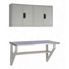 Workstation, Wall-Mounted with Stainless Steel Top