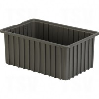 """Divider Box® Containers, Polyethylene, 16.5"""" W x 10.9"""" D x 7"""" H, Grey"""