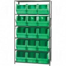 "Shelving Units - Series QMS533, Steel, Boltless, 500 lbs. Capacity, 42"" W x 76"" H x 18"" D"