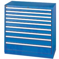 """Drawer Cabinets, 9 Drawers, 40-1/4"""" W x 22-1/2"""" D x 41-3/4"""" H, Bright blue"""