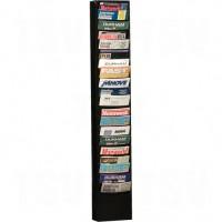 """Literature Storage Racks, Stationary, 20 Slots, Steel, 9-3/4"""" W x 4-1/8"""" D x 58"""" H"""