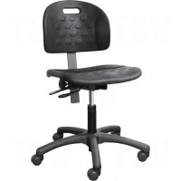 Ergonomic Industrial Shop Seating, Polyurethane, Black, 250 lbs. Capacity Each