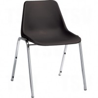 """Armless Stacking Chairs, Plastic, 30"""" High, Black"""