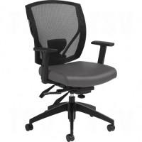 Multi-Tilter Arm Chairs, Vinyl, Charcoal, 300 lbs. Capacity Each
