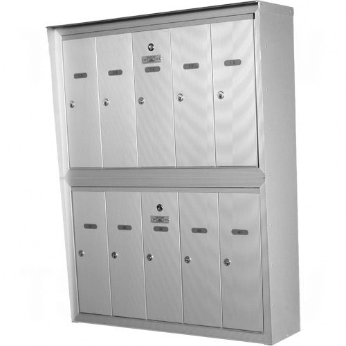 """Double Deck Mailboxes, Wall -Mounted, 16"""" x 5-1/2"""", 12 Doors, Aluminum Each"""