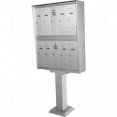 "Double Deck Mailboxes, Pedestal -Mounted, 16"" x 5-1/2"", 10 Doors, Aluminum Each"