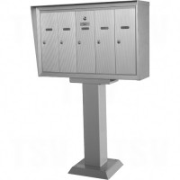 "Single Deck Mailboxes, Pedestal -Mounted, 16"" x 5-1/2"", 8 Doors, Aluminum Each"