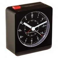 "Desk Alarm Clock, Analog, Battery Operated, 3.5"" W x 1.5"" D x 3.75"" H, Black"