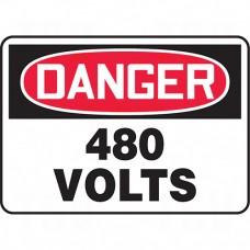 """480 Volts"" Sign, 7"" x 10"", Aluminum, English Each"