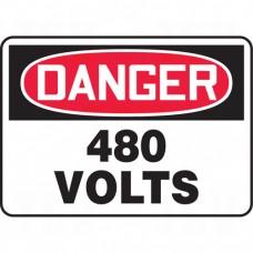 """480 Volts"" Sign, 10"" x 14"", Aluminum, English Each"