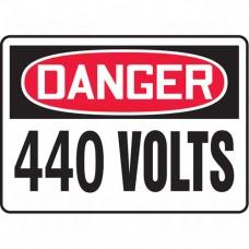 """440 Volts"" Sign, 10"" x 14"", Aluminum, English Each"